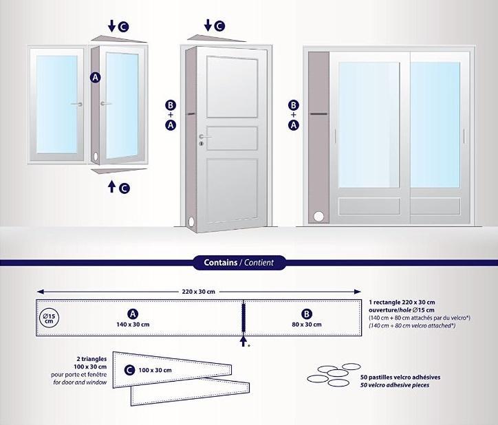 CAK002 Ajtó és ablak tömítés mobil klímák kivezetéséhez