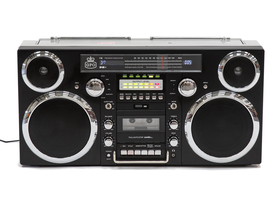 Radio casetofon portabil cu CD GPO Brooklyn /Ghetto Blaster/ Bluetooth/DAB, negru