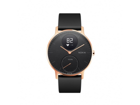 Ceas smart Nokia Steel HR (36mm) Rose Gold, curea neagra din silicon