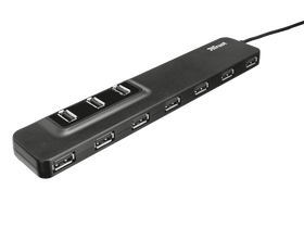 Trust Oila 10 port USB Hub USB2.0 + adapter, crna
