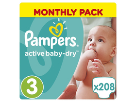 Pampers ActiveBaby Dry plienky Monthly Box 3 midi 208 ks