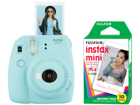 Fujifilm Instax Mini 9 instant camera, ice blue + Fujifilm mini film 10db