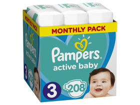 Pampers Active Baby Einwegwindel Monthly Box, Gr. 3, 208 Stk.