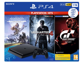 PlayStation® PS4 Slim 1TB Konsole + Uncharted 4, Horizon Zero Dawn und Gran Turismo Sport Spielsoftwares