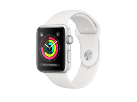 Apple Watch Series 3 GPS, 38mm, ezüst aluminium tok fehér sportszíjjal