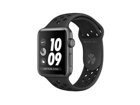 Apple Watch Nike+ GPS, 38mm, Aluminiumgehäuse mit Anthrazit-Schwarz Nike Sportarmband (mqky2mp/a)