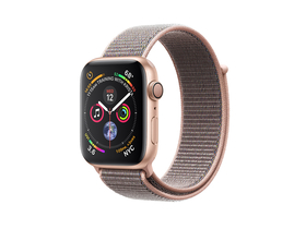 Apple Watch Series 4 GPS, 44mm, arany aluminium tok homokrózsaszín sportpánttal