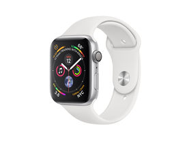 Apple Watch Series 4 GPS, 40mm, srebrni aluminijski ovitek z belim športnim pasom