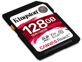 Card memorie Kingston Secure Digital 128GB Cl10 UHS-I U3 V30 A1 (100/80) Canvas React (SDR/128GB)