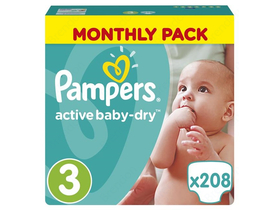 Pampers ActiveBaby Dry pelenka Monthly Box 3 midi 208, db