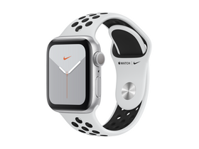 Apple Watch Nike Series 5 GPS, 44mm , ezüst aluminium tok, platinum/fekete Nike sportpánttal