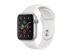 Apple Watch Series 5 GPS, 44mm , srebrni ovitek iz aluminija, z belim športnim pasom