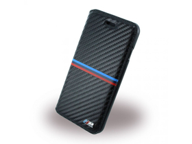 Husa BMW iPhone 7 Plus M Sport Carbon Inspiration Tricolor Stripe Horizonta, negru
