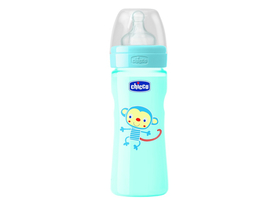 Chicco Well-Being 330 ml PP cumisüveg, kék, 4m+