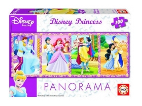 Puzzle Educa Disney Prințese panoramic, 100 buc.