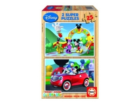 Puzzle Educa Disney Mickey Mouse, lemn,  2x25 buc.