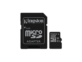 Kingston Secure Digital Micro 16GB Cl10 UHS-I U1 (80/10) Canvas Select memóriakártya (SDCS/16GB) + SD adapter