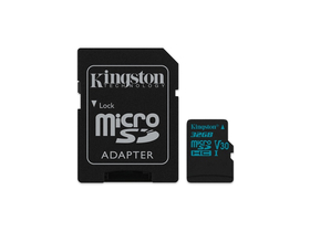 Card memorie cu adaptor Kingston Canvas Go microSDHC 32GB U3 UHS-I V30 (90/45), SDCG2/32GB