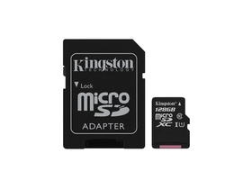 Kingston Canvas Select 128GB microSDXC memóriakártya + SD adapter, Class 10, UHS-I, U1 (SDCS/128GB)