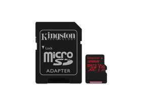 Kingston Secure Digital Micro 128GB Cl10 UHS-I U3 V30 A1 (100/80) Canvas React pomnilniška kartica (SDCR/128GB)+ SD adapter