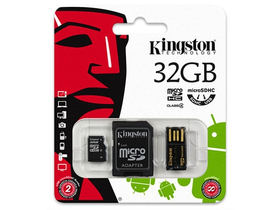 Kingston Secure Digital Micro 32GB Cl4 memóriakártya (MBLY4G2/32GB) + SD adapter + microSD olvasó