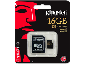 Kingston microSDHC kártya 16GB Class10 UHS-I + SD adapter