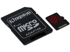 Kingston microSDXC karta 128GB ClassU3 UHS-I + SD adaptér