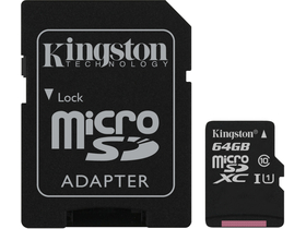 Card de memorie Kingston Secure Digital Micro 64GB SDXC Class10 + adaptor SD