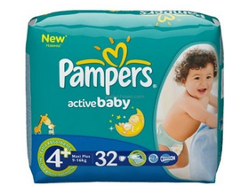 Pampers Active Baby Dry pelene 4 Plus (Maxi Plus) 9-16 kg 32 komad