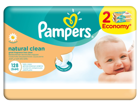 Pampers Natural Clean baba törlőkendő 2 x 64 db