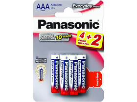 Panasonic Everyday Power LR03EPS-6BP4-2F AAA mikro 1.5V szupertartós alkáli elemcsomag (4+2db)