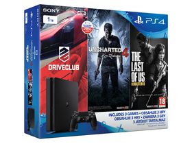 PlayStation® PS4 Slim 1TB Gamer + Driveclub + Uncharted 4 + The Last of Us játékokkal