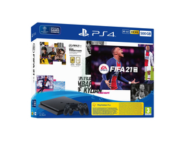 PlayStation® 4 Slim 500GB konzola, čierba + FIFA 21 hra + 2 DS4