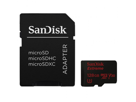 SanDisk Secure Digital MicroSD 128GB Extreme UHS-I, V3 Class 10 + SD adapter