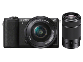 Sony Alpha 5100 set za digitalni fotoaparat  (16-50mm + 55-210mm objektiv), črni