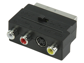 Valueline SCART AV adapter, SCART samec - samice 3x RCA  + samice S-Video