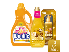 Woolite Gold Expert balení (Gold Wash Gel, 3L, Aviváž 1,2L, Relatilizer spray 300ml)