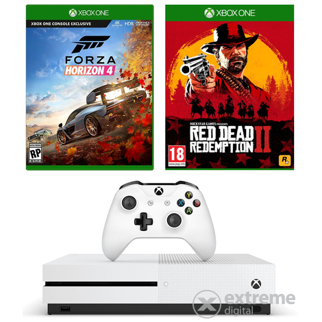 Microsoft Xbox One S 1TB consola + Red Dead Redemption 2 + Forza Horizon 4 + cadou controller Xbox One