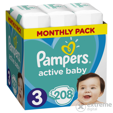 Pampers Active Baby pelenka Monthly Box, 3-as méret, 208 db