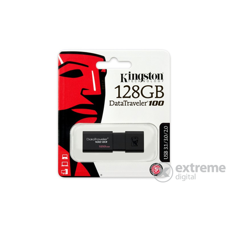 Kingston DataTraveler 100 128GB USB 3.0 pendrive, fekete (DT100G3/128GB)