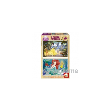 Educa Disney Snow White and Ariel Puzzle, drveni, 2x16 komada