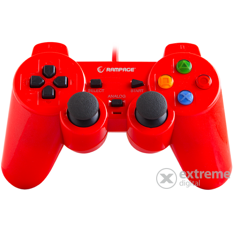 Rampage gamepad - SG-R602 Red (USB, 1,8m kábel, PC ÉS PS3 kompatibilis, piros)