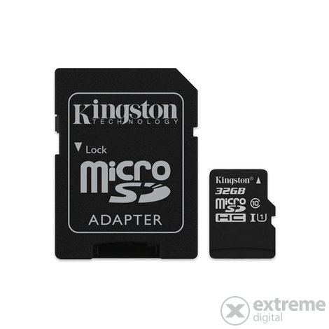 Kingston Canvas Select microSDHC 32GB Class 10 UHS-I (80/10) memóriakártya,adapterrel