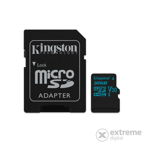 Kingston Canvas Go microSDHC 32GB U3 UHS-I V30  (90/45)  memóriakártya, adapterrel (SDCG2/32GB)