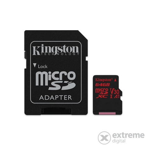 Kingston Secure Digital Micro 64GB Cl10 UHS-I U3 V30 A1 (100/80) Canvas React pamäťová karta (SDCR/64GB) + SD adaptér