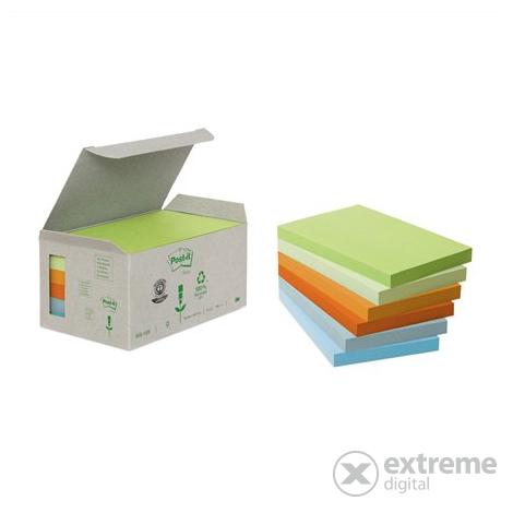 3M Post-it® Öntapadó jegyzettömb  100 lap  76x127 mm  környezetbarát  pasztell szivárvány