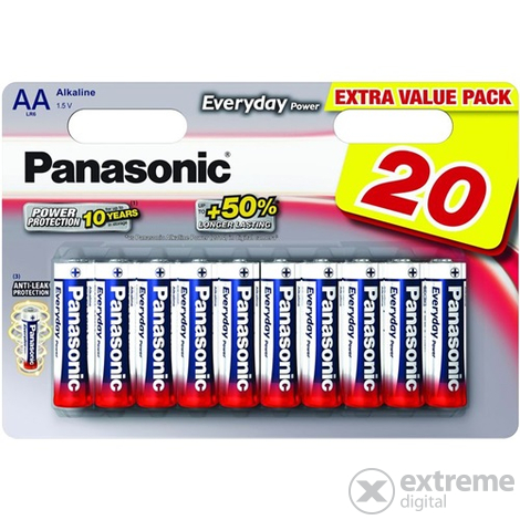 Panasonic Everyday Power LR6EPS-20BW AA ceruza 1.5V szupertartós alkáli elemcsomag (20db)