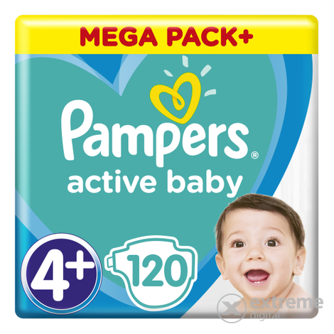 Pampers Active Baby pelenka Megabox Plus, 4+-os mérert, 120 db