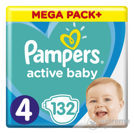 Pampers Active Baby pelenka Megabox Plus, 4-os mérert, 132 db