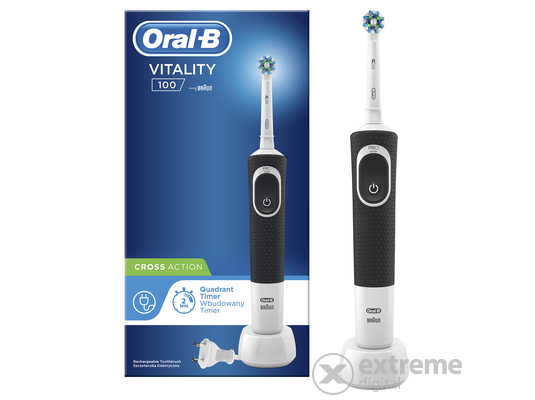 Oral-B D100 Vitality elektromos fogkefe CrossAction fejjel, fekete